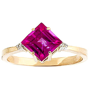 Pink Topaz & Diamond Princess Ring in 9ct Gold