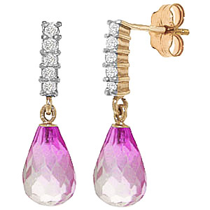 Pink Topaz & Diamond Stem Droplet Earrings in 9ct Gold