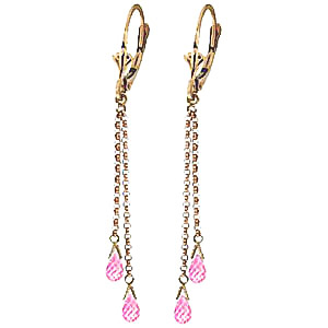 Pink Topaz Demi Chain Drop Earrings 2.5 ctw in 9ct Gold