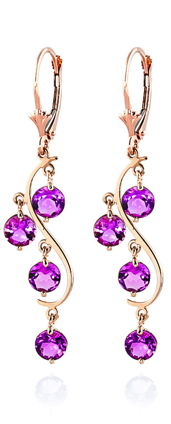 Image of Pink Topaz Dream Catcher Drop Earrings 4.95 ctw in 9ct Rose Gold
