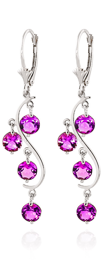 Image of Pink Topaz Dream Catcher Drop Earrings 4.95 ctw in 9ct White Gold
