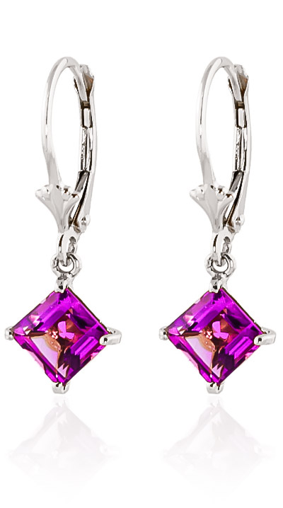 Pink Topaz Drop Earrings 3.2 ctw in 9ct White Gold