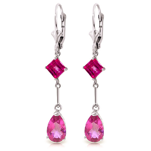 Pink Topaz Drop Earrings 4.95 ctw in 9ct White Gold