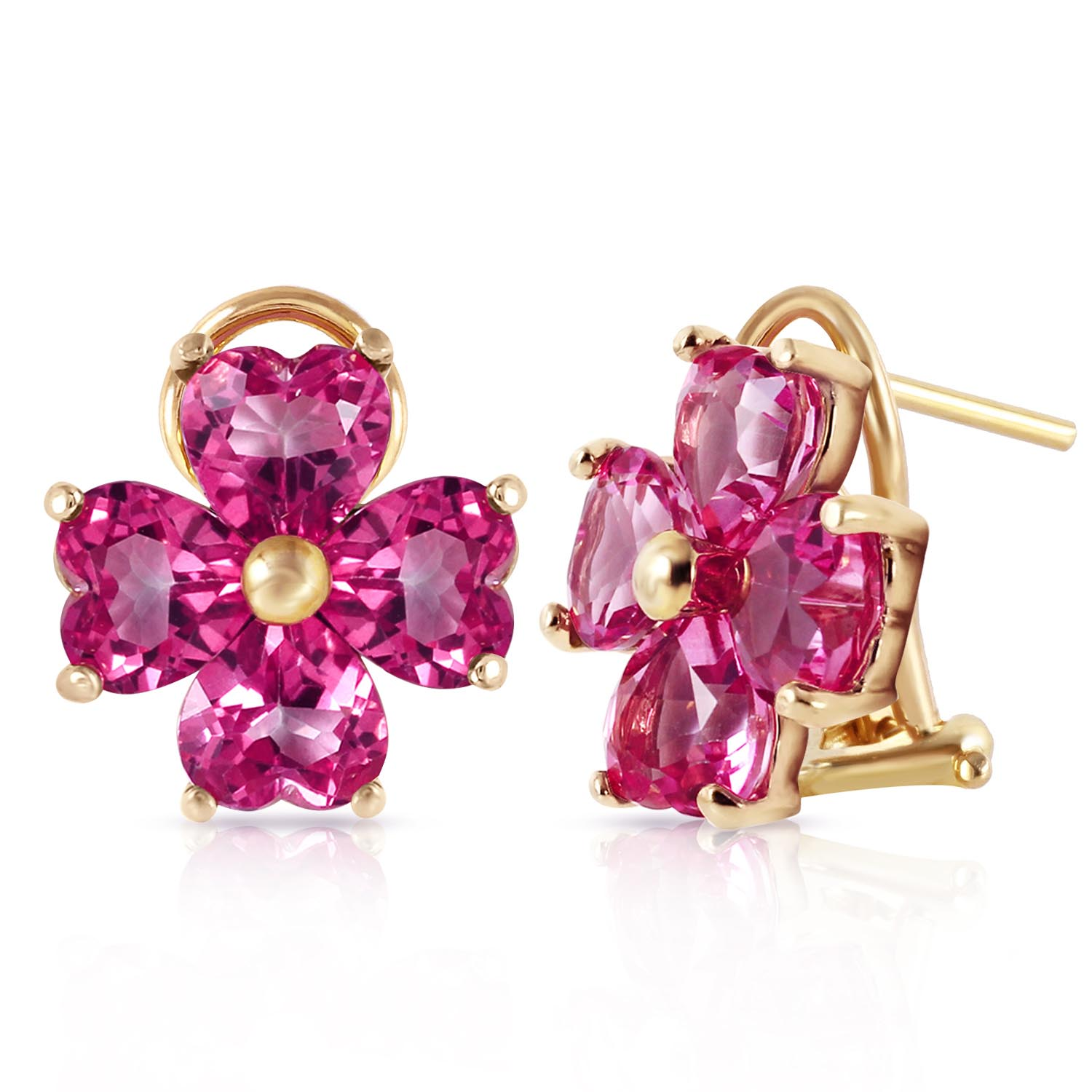 Pink Topaz Flower Stud Earrings 7.6 ctw in 9ct Gold