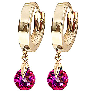 Pink Topaz Huggie Drop Earrings 2 ctw in 9ct Gold