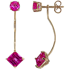 Pink Topaz Lure Drop Earrings 4.15 ctw in 9ct Gold