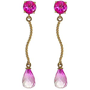 Pink Topaz Lure Drop Earrings 4.3 ctw in 9ct Gold