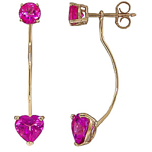 Pink Topaz Lure Drop Earrings 4.55 ctw in 9ct Gold