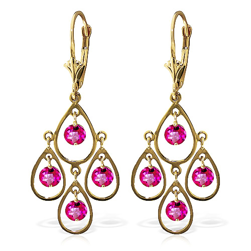 Pink Topaz Quadruplo Milan Drop Earrings 2.4 ctw in 9ct Gold