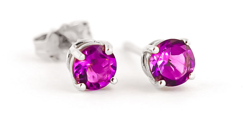Pink Topaz Stud Earrings 1.3 ctw in 9ct White Gold