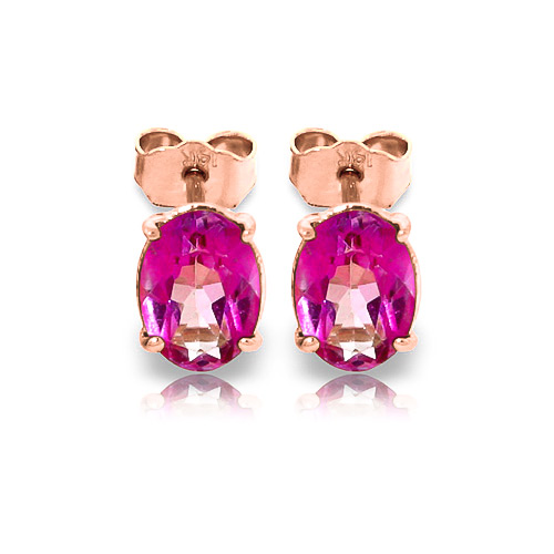 Pink Topaz Stud Earrings 1.8 ctw in 9ct Rose Gold