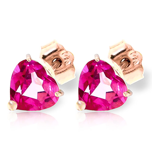 Pink Topaz Stud Earrings 3.25 ctw in 9ct Rose Gold