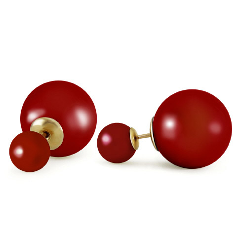 Red Pearl Double Red Shell Stud Earrings 71.1 ctw in 9ct Gold