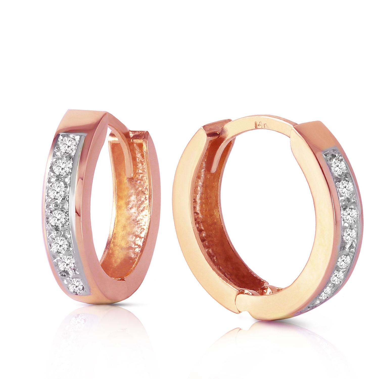 Diamond Huggie Earrings in 9ct Rose Gold