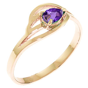 Pear Cut Amethyst Ring 0.3ct in 9ct Rose Gold
