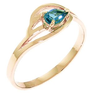 Pear Cut Blue Topaz Ring 0.3ct in 9ct Rose Gold