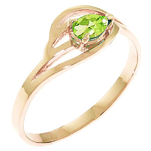 Pear Cut Peridot Ring 0.3ct in 9ct Rose Gold