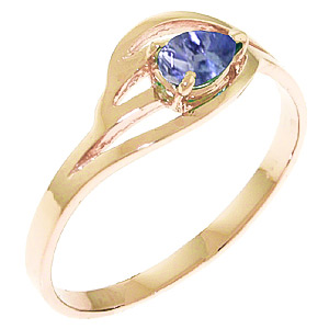 Pear Cut Tanzanite Ring 0.3ct in 9ct Rose Gold