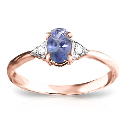 Tanzanite and Diamond Ring 0.4ct in 9ct Rose Gold