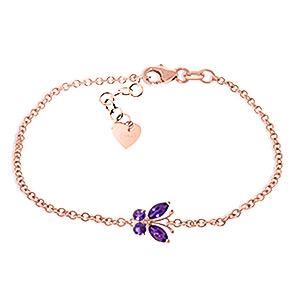 Image of Amethyst Adjustable Butterfly Bracelet 0.6ctw in 9ct Rose Gold