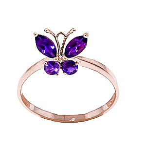 Amethyst Butterfly Ring 0.6ctw in 9ct Rose Gold