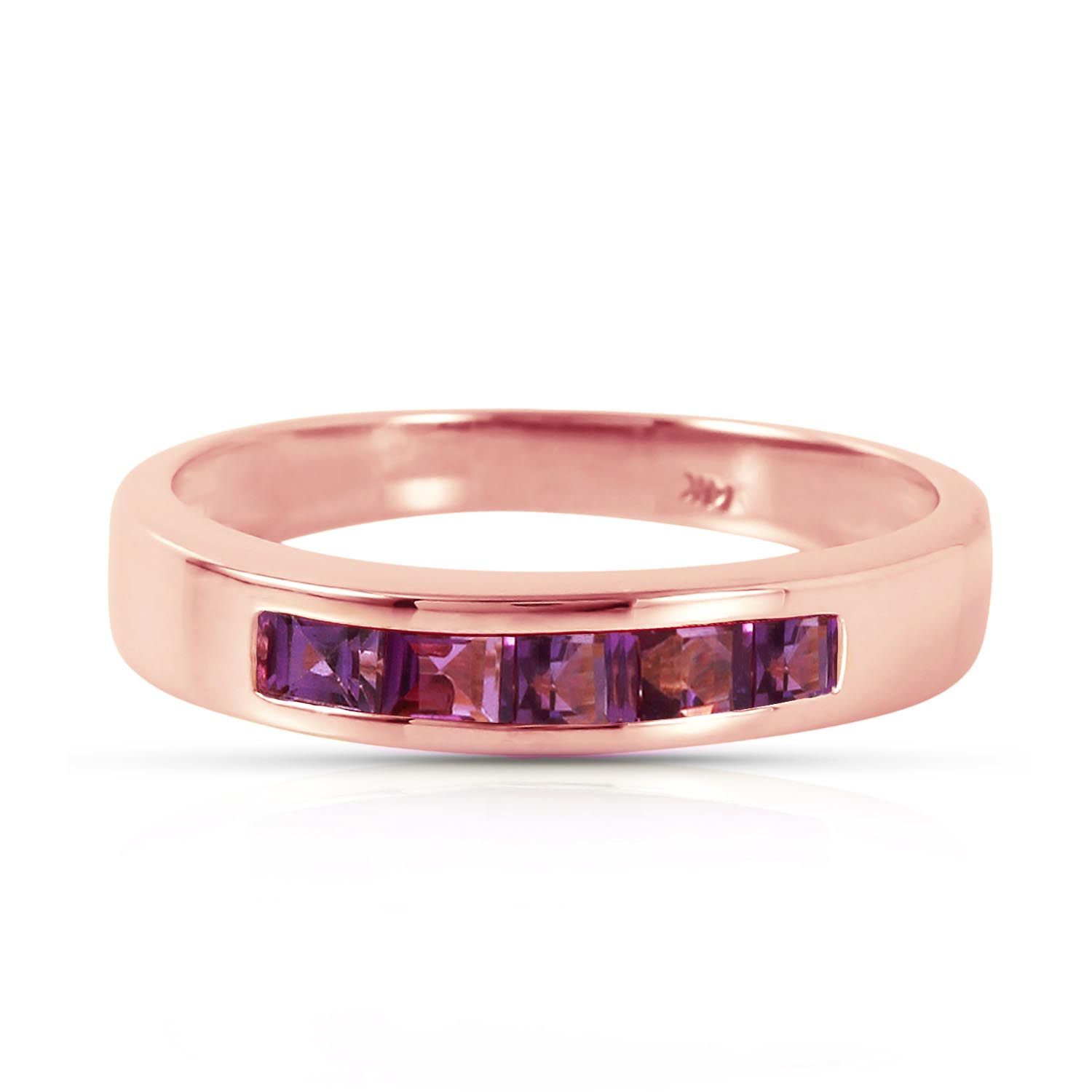 Princess Cut Amethyst Ring 0.6ctw in 9ct Rose Gold