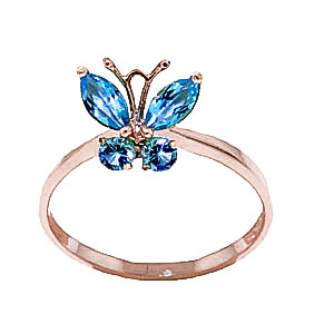Blue Topaz Butterfly Ring 0.6ctw in 9ct Rose Gold