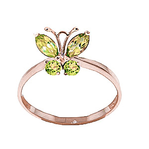 Peridot Butterfly Ring 0.6ctw in 9ct Rose Gold