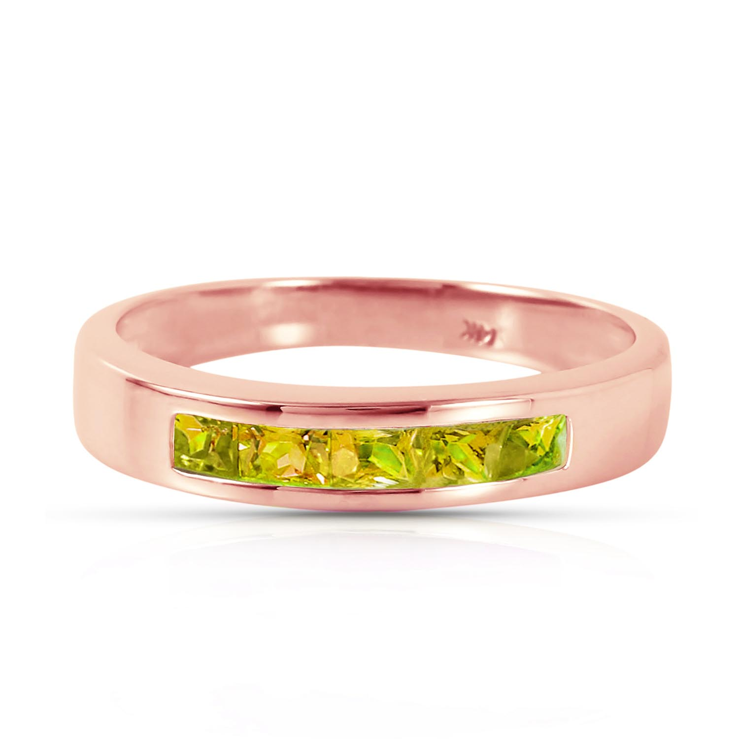 Princess Cut Peridot Ring 0.6ctw in 9ct Rose Gold