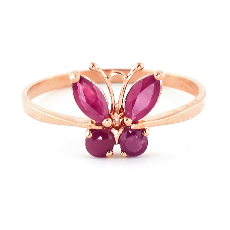 Ruby Butterfly Ring 0.6ctw in 9ct Rose Gold
