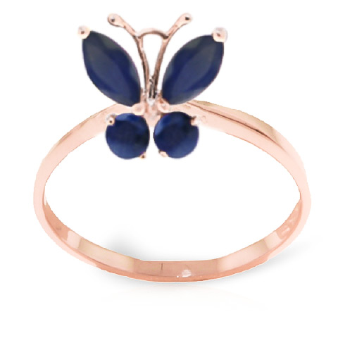 Sapphire Butterfly Ring 0.6ctw in 9ct Rose Gold