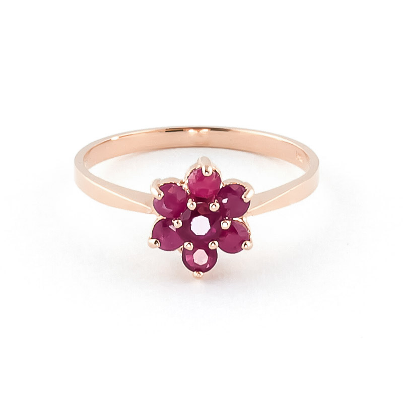 Ruby Wildflower Cluster Ring 0.66ctw in 9ct Rose Gold