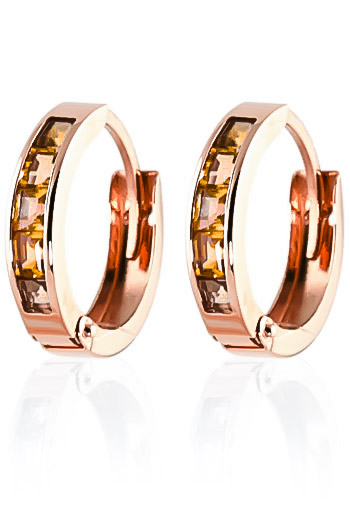 Citrine Huggie Earrings 0.7ctw in 9ct Rose Gold