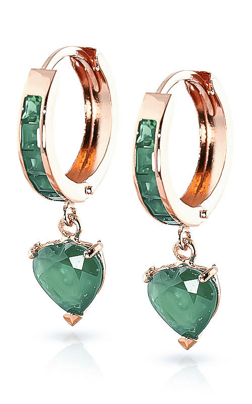 Emerald Huggie Earrings 0.85ctw in 9ct Rose Gold