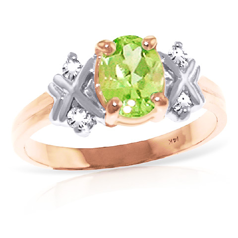 Peridot and Diamond Ring 0.85ct in 9ct Rose Gold