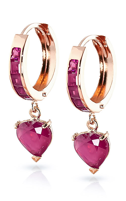 Ruby Huggie Earrings 0.85ctw in 9ct Rose Gold