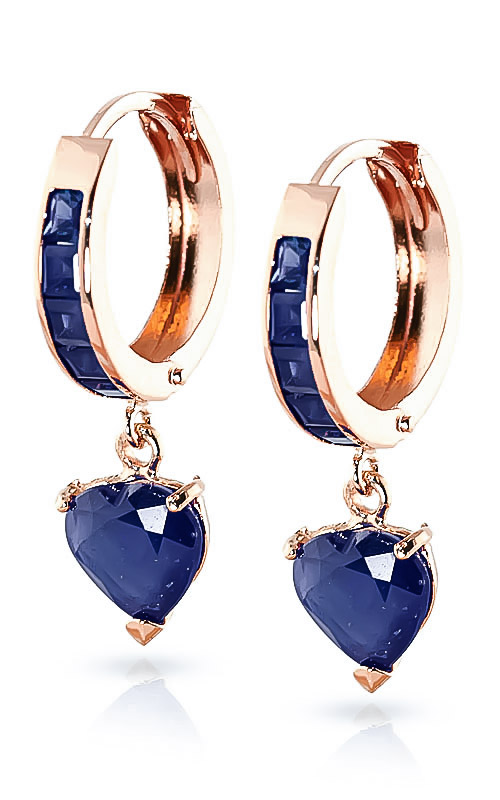 Sapphire Huggie Earrings 0.85ctw in 9ct Rose Gold