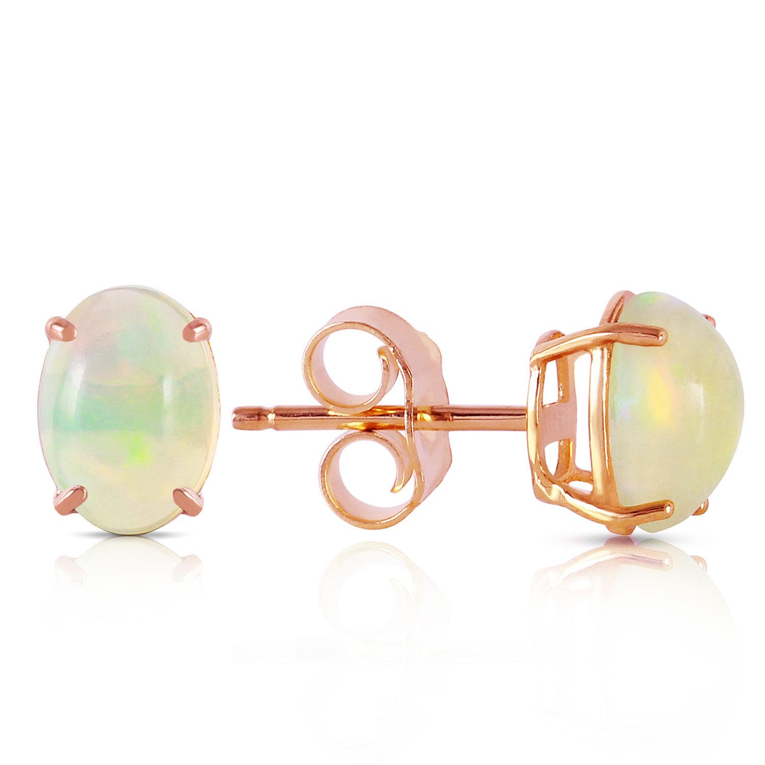 Opal Stud Earrings 0.9ctw in 9ct Rose Gold
