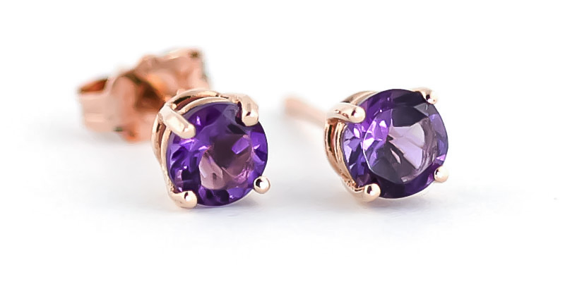 Amethyst Stud Earrings 0.95ctw in 9ct Rose Gold
