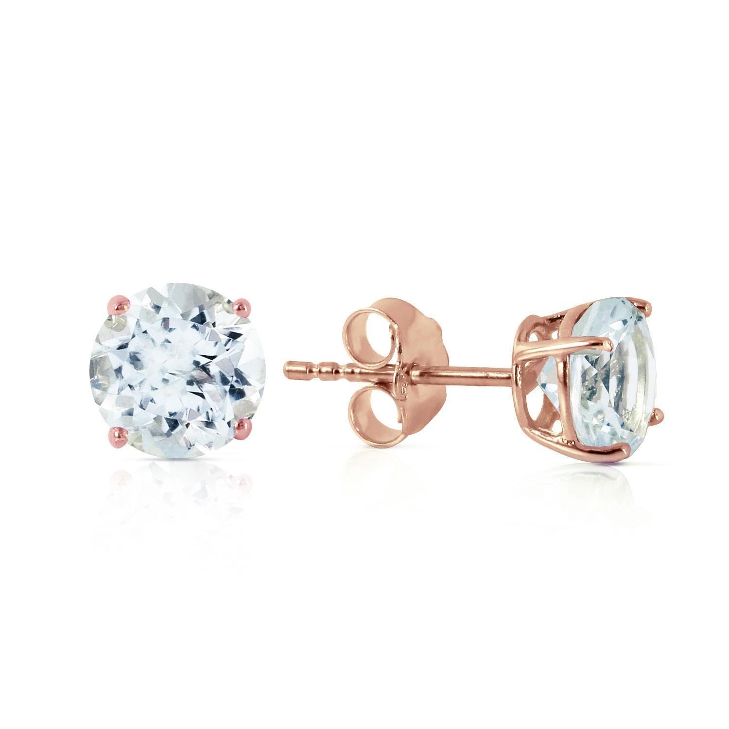 Aquamarine Stud Earrings 0.95ctw in 9ct Rose Gold