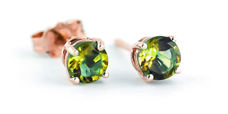 Peridot Stud Earrings 0.95ctw in 9ct Rose Gold