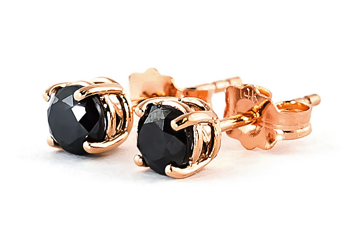 Black Diamond Stud Earrings in 9ct Rose Gold