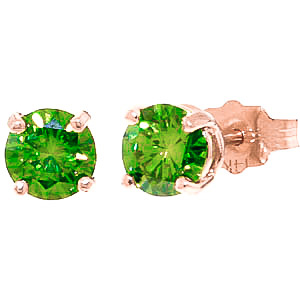 Green Diamond Stud Earrings in 9ct Rose Gold