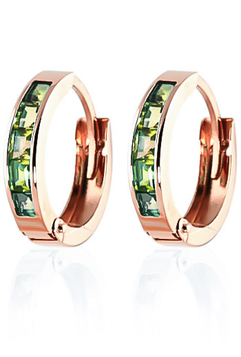 Peridot Huggie Earrings 1.0ctw in 9ct Rose Gold