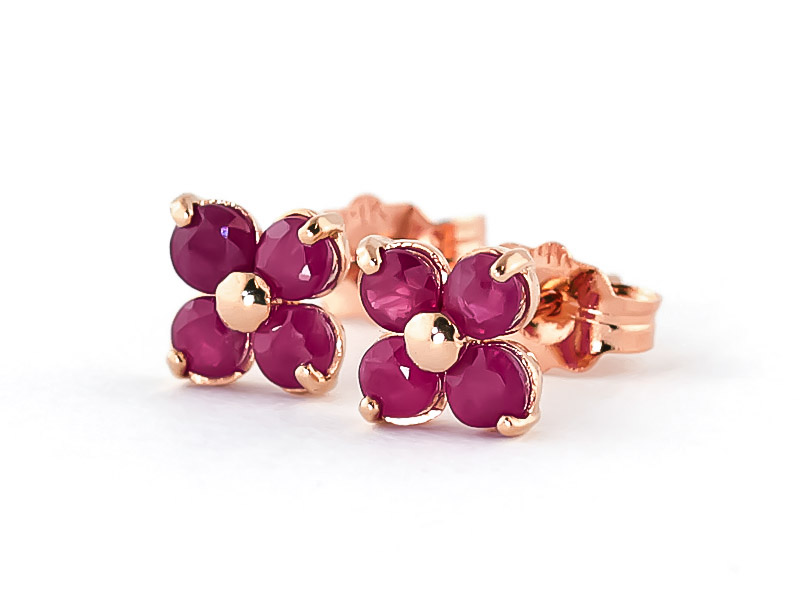 Ruby Clover Stud Earrings 1.15ctw in 9ct Rose Gold