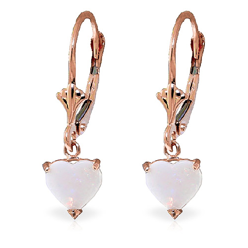 Opal Heart Drop Earrings 1.3ctw in 9ct Rose Gold