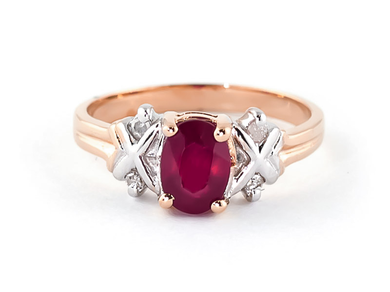 Ruby and Diamond Ring 1.35ct in 9ct Rose Gold