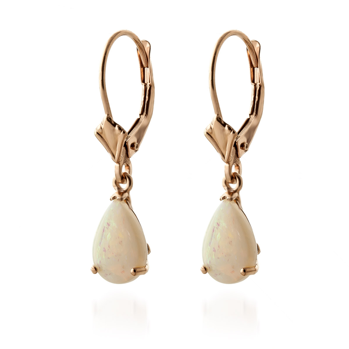 Opal Belle Drop Earrings 1.55ctw in 9ct Rose Gold
