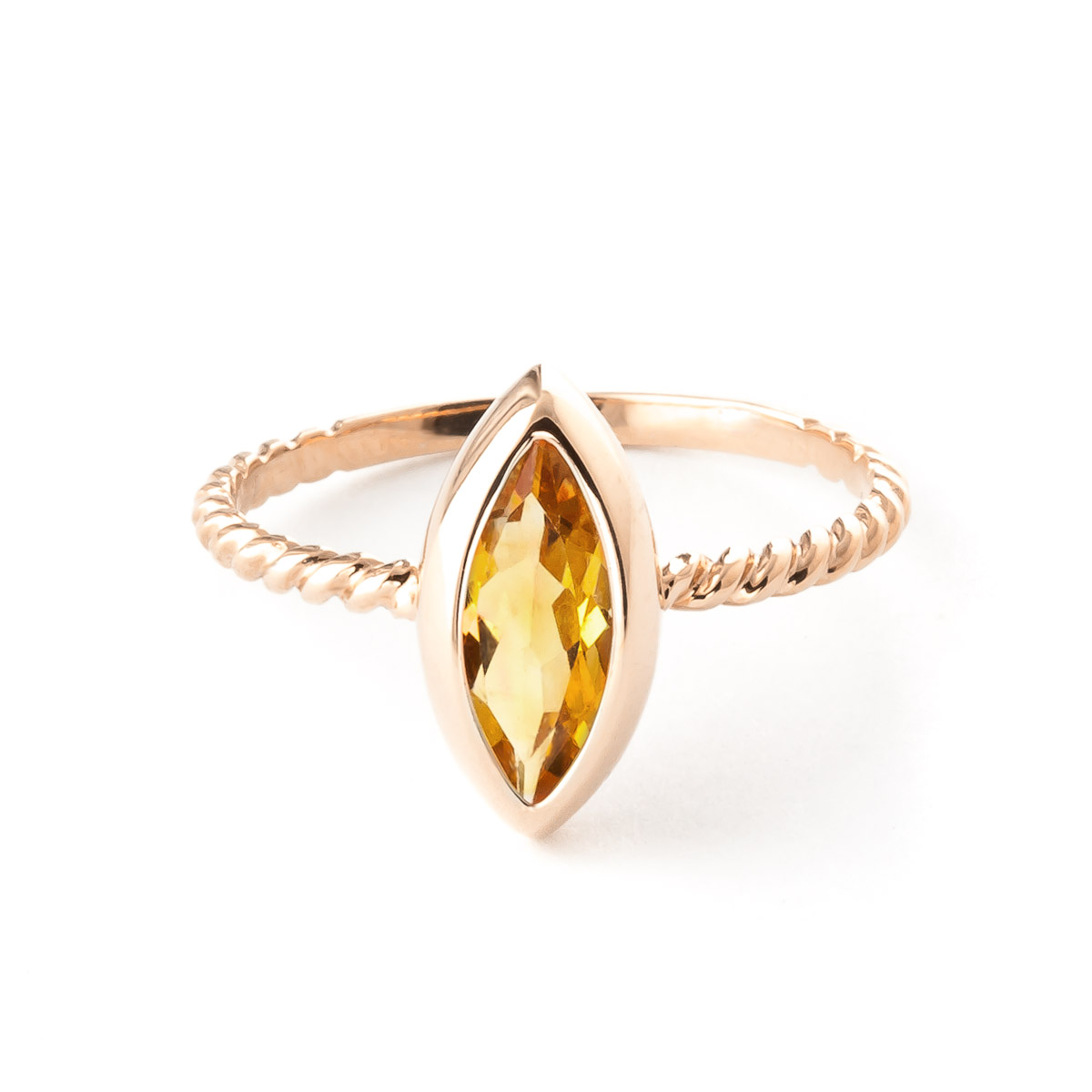 Marquise Cut Citrine Ring 1.7ct in 9ct Rose Gold