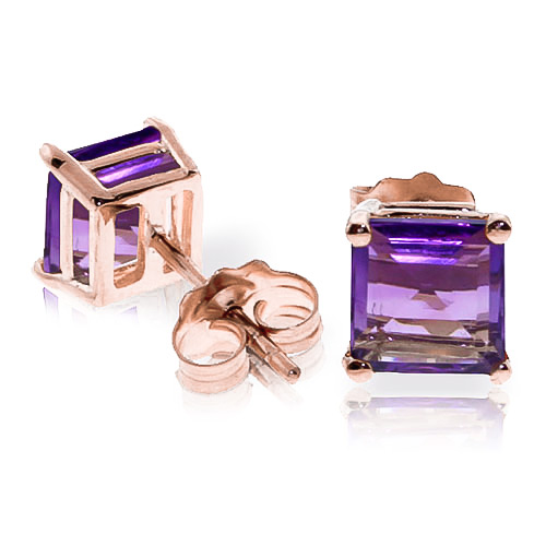Amethyst Stud Earrings 1.75ctw in 9ct Rose Gold